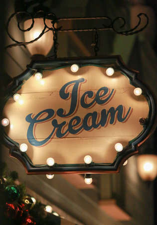 shop sign: ice cream shop lighting sign Stock Photo