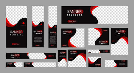 set of creative web banners of standard size with a place for photos. Vertical, horizontal and square template. vector illustration Çizim