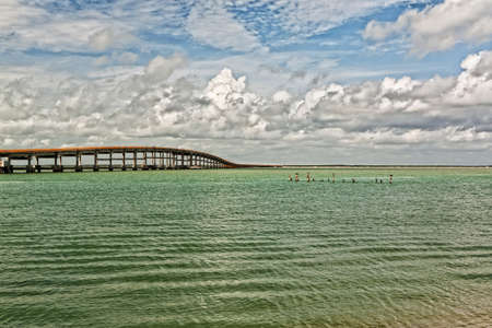 Very long highway bridge in Mexico trouth the Mexican bay photo