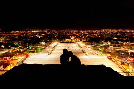 bonfire night: Night lovers on the top of Tuxtla Gutierres in Mexico Stock Photo