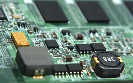 green laptop motherboard in macro with chip parts Stock Photo - 12234886