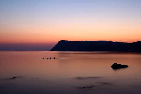 Mountains of the Black sea  in Crimea on Sunrise photo