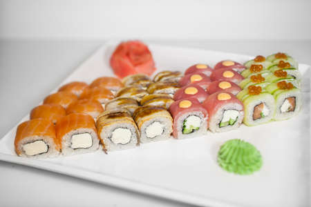 sushi rolls set on the white plate