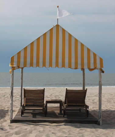 cabana: Beach deckchairs and cabana
