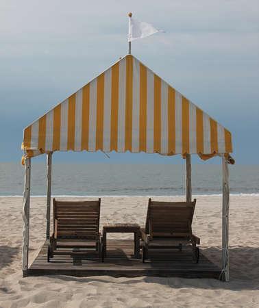 cabana: Beach deckchairs and cabana