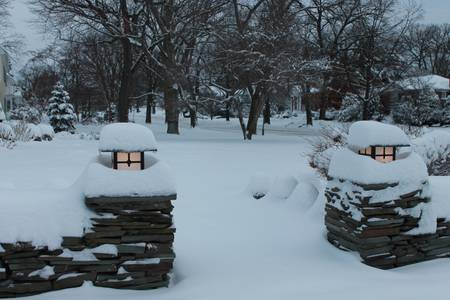 adds: Freshly fallen snow adds a festive touch to garden lighting