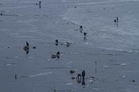 ice fishing: Heilongjiang River freeze, ice fishing