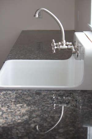 Farm Sink and Granite Countertop Reflection