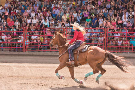 Williams Lake, British Columbia/Canada - July 2, 2016: woman and her horse compete in a barrel racing event at the 90th Williams Lake Stampede, an internationally famous event.