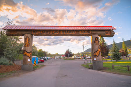 Williams Lake, British Columbia/Canada - July 1, 2016: carved log entrance archway to the stampede grounds, an important venue for major events in downtown Williams Lake. Editorial
