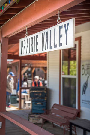 Summerland, British ColumbiaCanada - May 14, 2017: the Prairie Valley Station platform where passengers embark on the Kettle Valley Steam Railway, a popular tourist attraction in the Okanagan.