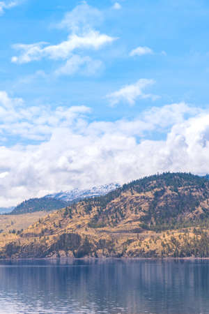 Landscape of lake, grassy hills, snow covered mountains, blue sky and clouds on sunny day