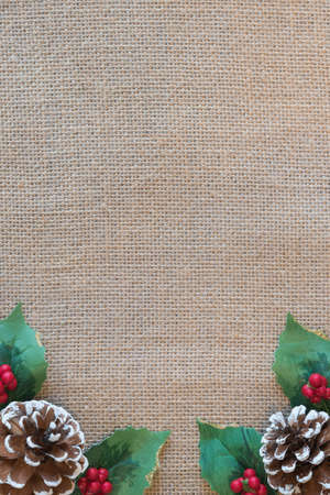 Christmas border of pinecones, red berries, and holly leaves with rustic fabric background Standard-Bild