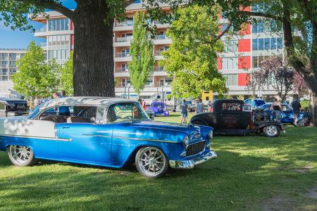 Penticton, British ColumbiaCanada - June 22, 2019: 1955 Chevy Bel Air on display at the Peach City Beach Cruise, a popular annual car show.