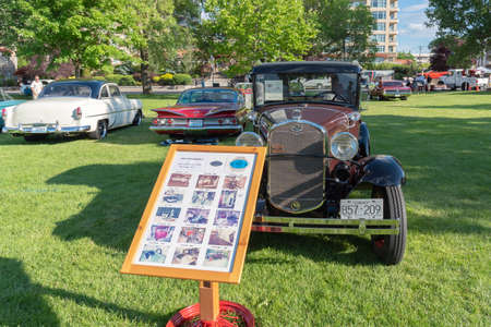 Penticton, British ColumbiaCanada - June 22, 2019: a 1931 Ford Model A on display at the Peach City Beach Cruise, a popular annual car show