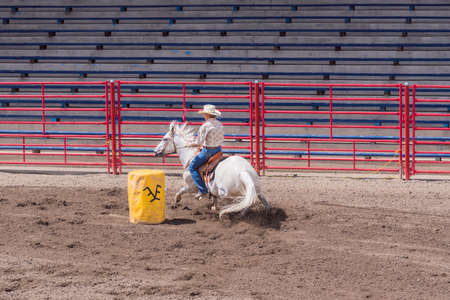 Williams Lake, British ColumbiaCanada - June 19, 2016: woman and horse compete in barrel racing event called the Stampede Warm-Up to prepare for the Williams Lake Stampede, one of the largest stampedes in North America