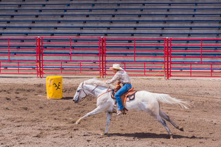 Williams Lake, British ColumbiaCanada - June 19, 2016: woman and horse race to the finish line in barrel racing event called the Stampede Warm-Up to prepare for the Williams Lake Stampede, one of the largest stampedes in North America 新聞圖片