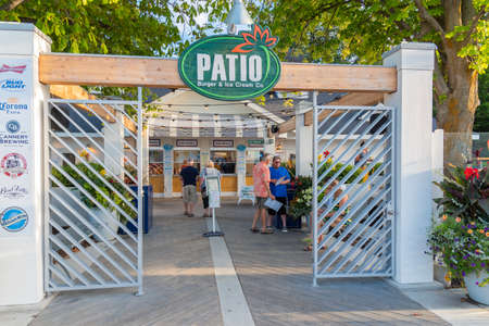 Penticton, British ColumbiaCanada - August 29, 2019:  front entrance of Patio Burger and Ice Cream Co. on Lakeshore Drive, a popular summer restaurant for tourists and locals.