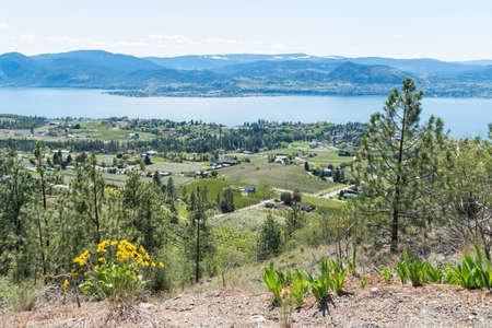 View above Naramata from the Kettle Valley Rail Trail, of Okanagan Lake and Okanagan Valley