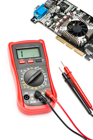 impedance: multimeter on the white background