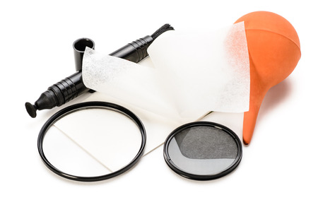 lens cleaning tools on the white background. photo