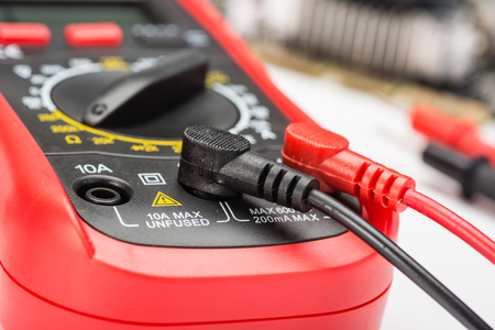 conductor electricity: close up of multimeter, macro.
