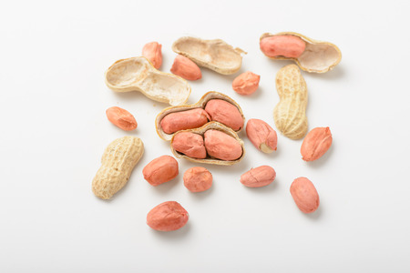 peanuts on the white background.