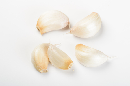 close up of garlic on the white background