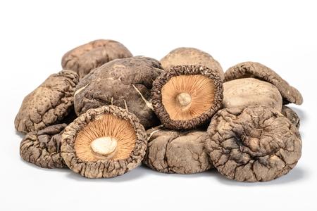 dried shitake mushroom on the white background Stok Fotoğraf