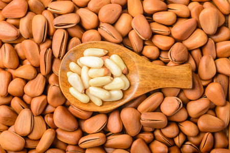 pine nuts: food background of pine nuts Stock Photo