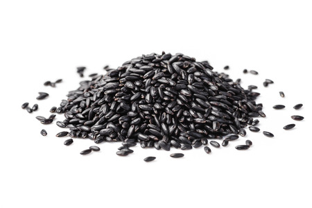 black rice on the white background