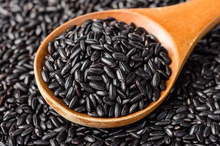 black rice: food background of black rice
