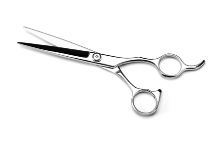 stainless scissors on white
