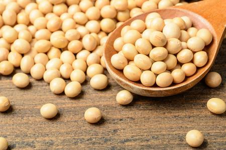 soybean on the wooden board, tilt shift lens