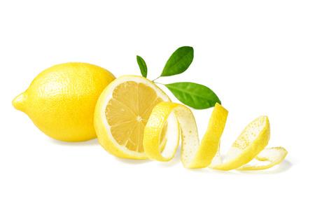 흰색에 신선한 레몬과 레몬 껍질 스톡 콘텐츠