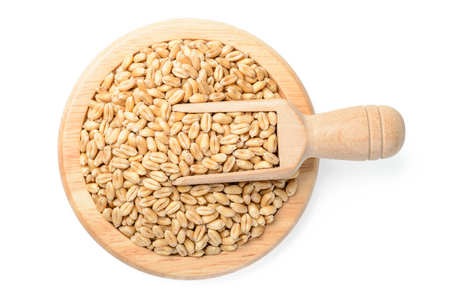 golden shovel: raw dried wheat in the wooden plate, top view Stock Photo