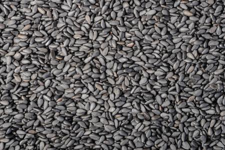 black sesame: food background of black sesame, top view Stock Photo