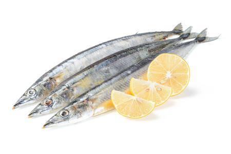 saury fish on white Stok Fotoğraf