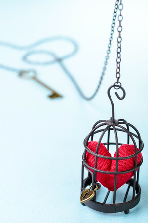 incarceration: red heart in bird cage
