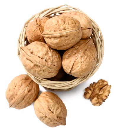 top veiw: walnuts in the basket, top view