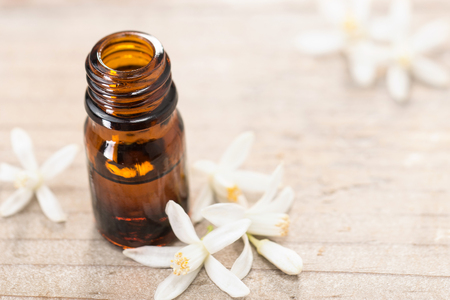 neroli essential oil in the brown glass bottle, with fresh white neroli flower Stock Photo