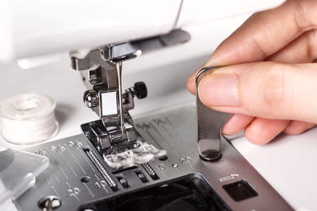 close up of repair the sewing machine Stock Photo