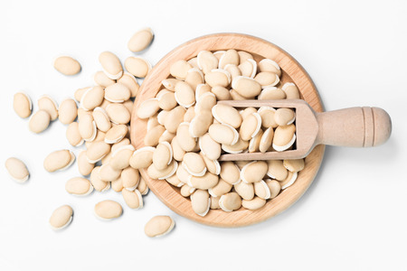 dried raw hyacinth beans on white, top view