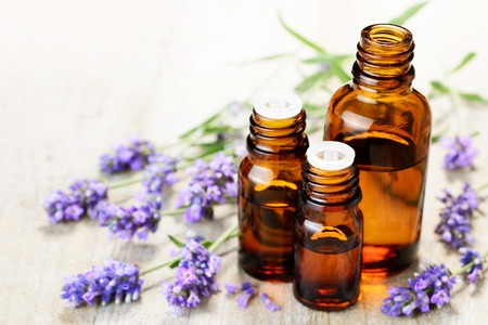 Lavender essential oil in the amber bottle, with fresh lavender flower heads. Foto de archivo