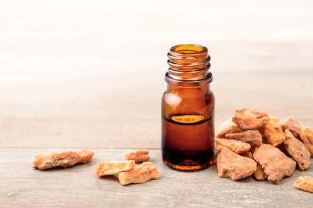 styrax benzoin extract tincture in the bottle Stockfoto