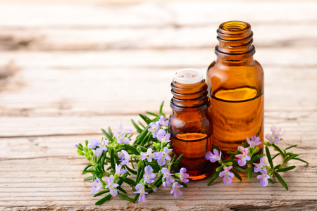 fresh rosemary flowers and essential oils on the table