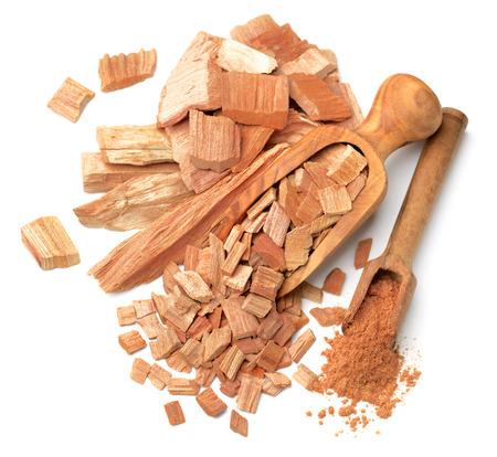 sandalwood slice and powder in the scoop, top view