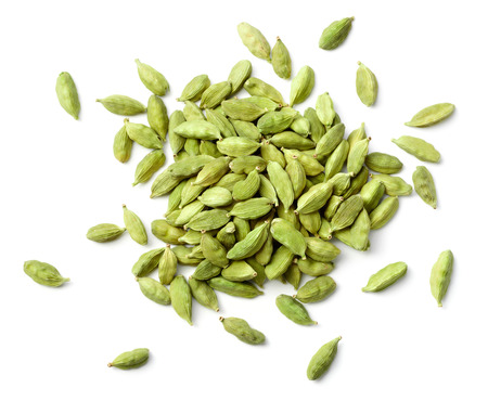 closeup of dried cardamom isolated on white