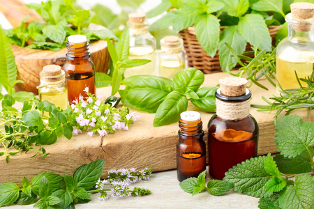 fresh herbs and essential oil on the wooden table Stock Photo