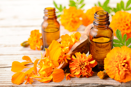Tagetes essential oil and flowers on the wooden board Stock Photo